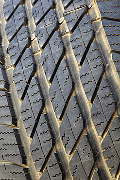 Close-Up Detail Of Tire Tread Pattern, Tarifa, Cadiz, Andalusia, Spain