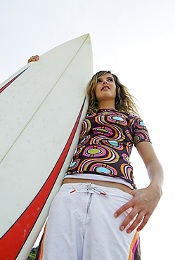 Young Woman With Her Surfboard, Tarifa, Cadiz, Andalusia, Spain