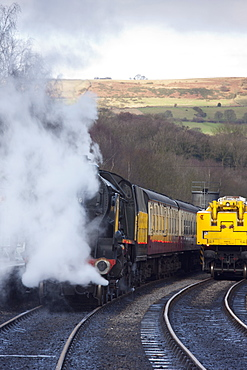 Grosmont, North Yorkshire, England, Trains Traveling On The Tracks