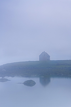 A House Along The Water In The Fog, Iceland