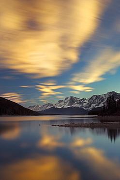 The Upper Lake At Sunset, Kananaskis, Alberta, Canada