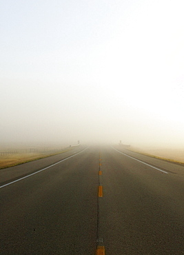 Highway In Misty Morning, Saskatchewan, Canada