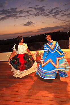 Hispanic Women Dancing In Traditional Folkloric Dresses Guaycura Boutique Hotel And Spa, Todos Santos, Baja California, Mexico