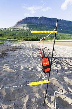 A Device In The Sand On The Shore Of Hallo Bay, Katmai Naional Park, Alaska Peninsula, Southwest Alaska, United States Of America