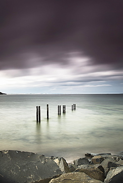 Wooden posts in a row in the shallow water along the coast under dark storm clouds, St. mary's bay northumberland england