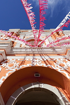 Red And White Streamers Hung Over An Arched Doorway, Guatemala City, Guatemala