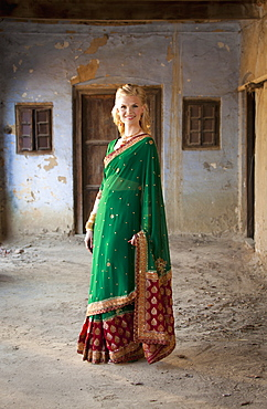 Portrait Of A Woman In A Sari, Ludhiana, Punjab, India