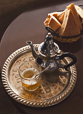 Mint Tea Teapot And Arabic Bread, Tangiers, Morocco