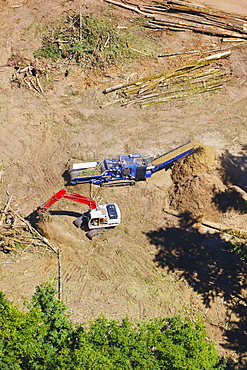 Aerial View Of Heavy Equipment Clearing Land For Development, Portland, Oregon, United States of America