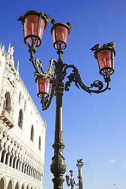 Lamp Post And Building In Piazza San Marco, Venice, Veneto, Italy