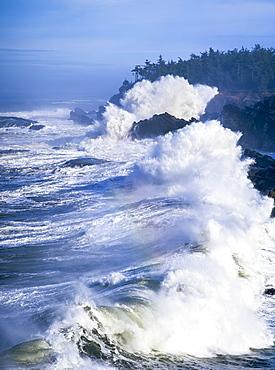 Surf Breaks On The Rocks, Charleston, Oregon, United States Of America