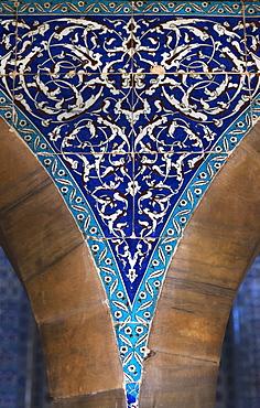 Blue Tile Mosaic On A Wall, Istanbul, Turkey