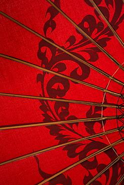 Red Burmese Umbrella, Yangon, Myanmar