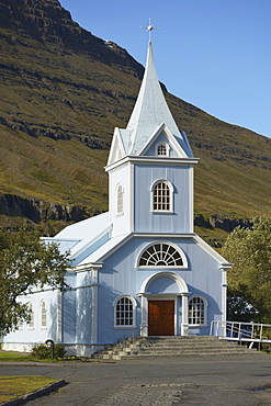 Blue Church Of Seydisfjordur, Seydisfjordur, Eastfjords Of Iceland, Iceland