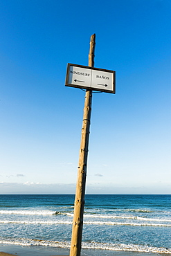 Sign On The Beach For Windsurfing And Bathrooms, Tarifa, Cadiz, Andalusia, Spain