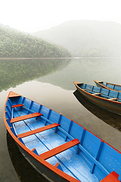 Boats In The Famous Pokhara Lake, Pokhara, Nepal