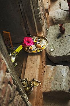 Offering Dish, A Buddhist Deity, Nepalese New Year Festival, Bahktapur, Kathmandu Valley, Nepal