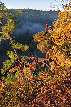 Man Standing On The Edge Of The Barron Canyon, Algonquin Park, Ontario, Canada