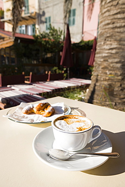 Cappuccino Served On A Table, Porto Venere, Liguria, Italy