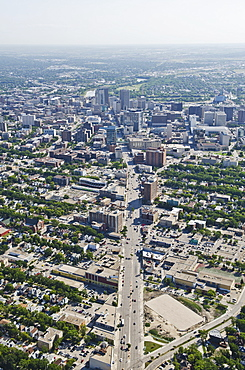 Aerial View Of Winnipeg Looking Down Portage Avenue Towards Downtown, Winnipeg, Manitoba, Canada