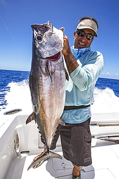 Fisherman Holding Dogtooth Tuna (Gymnosarda Unicolor), Tahiti