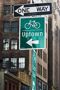 Street Signs For Traffic And Destinations, New York City, New York, United States Of America