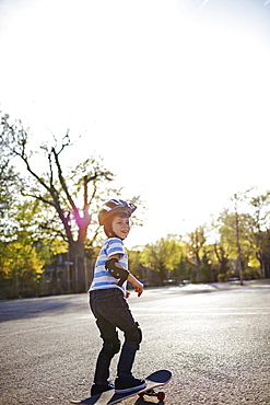 Young Boy Riding A Skateboard, Montreal, Quebec, Canada