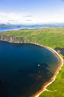Aerial View Of Cliffs And Beaches Along The Shore Of Popof Island Near Sand Point, Southwestern Alaska, USA, Summer