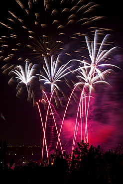 Colourful Fireworks At Nighttime, Calgary, Alberta, Canada