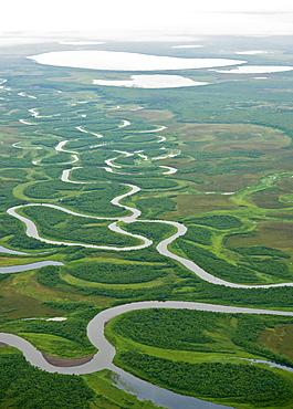 Aerial View Of Winding Creek In Bristol Bay Area, Southwest Alaska, Alaska, United States Of America