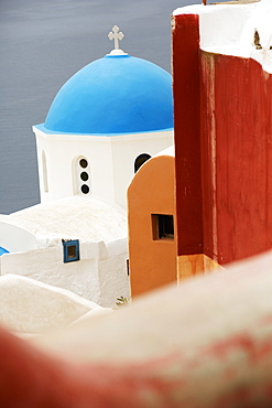 Greek Orthodox Church With Blue Dome In The Village Of Oia, Oia, Santorini, Greece