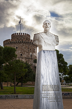 White Bust Of Lieutenant Nicholaos Votsis And The White Tower, Thessaloniki, Greece
