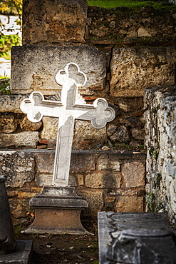 White Cross And Stone Wall, Church Of The Holy Apostles, Athens, Greece