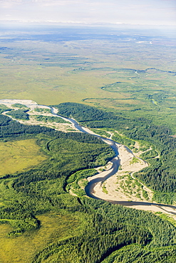 Aerial View Of The Foothills Of The Brooks Range Junction Of The Koyukuk And John Rivers, Brooks Range, Alaska, United States Of America