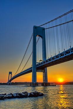 Verrazano-Narrows Bridge At Sunset, Brooklyn, New York, United States Of America