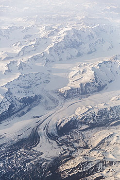 Aerial View Of Snow Covered Mountains And Glaciers In The Coastal Range, Southeast Alaska, Alaska, United States Of America