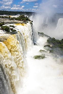 Rainbow Seen In Spray At Iguazu Falls, Parana, Brazil