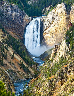 Waterfall From The Yellowstone River, Yellowstone National Park, Wyoming, United States Of America