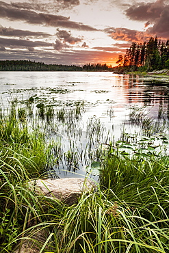 Sunset Over A Pond, Thunder Bay, Ontario, Canada