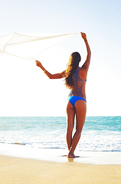 Summer Lifestyle, Beautiful Young Woman On The Beach At Sunset