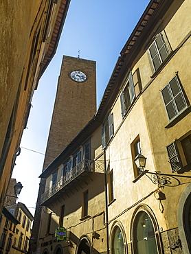 Clock Tower Against A Blue Sky, Orvieto, Umbria, Italy
