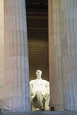 The Statue Of Abraham Lincoln Sits In Solitude At The Lincoln Memorial, Washington, District Of Columbia, United States Of America