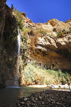 Water Flowing Out Of A Rock Cliff, Israel
