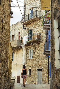 Street With Old Stone Buildings, Orgosolo, Sardinia, Italy