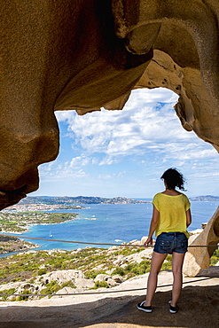 Girl Enjoying The Panoramic View From Capo D'orso, Palau, Sardinia, Italy