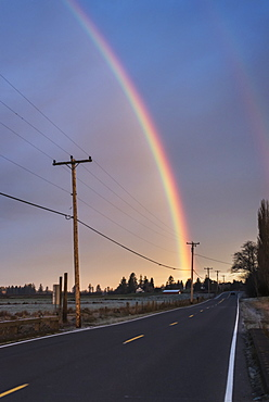 A Rainbow Brightens A Sky, Astoria, Oregon, United States Of America