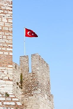 Selcuk Castle And The Turkish Flag, Ephesus, Turkey