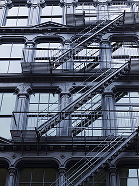 Fire Escapes On The Side Of A Residential Building, New York City, New York, United States Of America