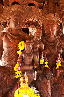 Sanctuary Of Truth Wooden Building With Hundreds Of Carved Buddhist Figures, Pattaya, Thailand