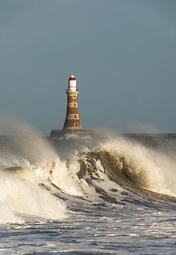 Waves Breaking And Roker Pier Lighthouse, Sunderland, Tyne And Wear, England
